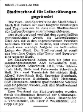 Gründungsanzeige des Sportverbands  im Haller Tagblatt am 9. Juli 1958